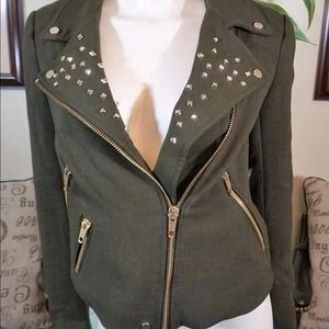 Zara Green Military Jacket Spikes Wool Blend Sz M